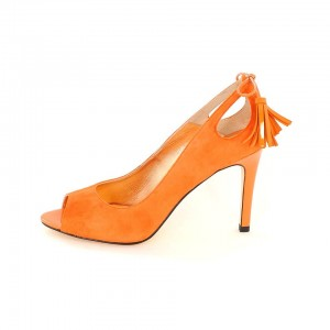 Orange Suede Shoes Peep Toe Heels Tassels Pumps for Women