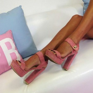 Pink Ankle Strap Open Toe Chunky Heel Sandals