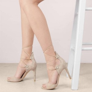 Women's Beige Strappy Sandals  Pumps Lace-up Stiletto Heels