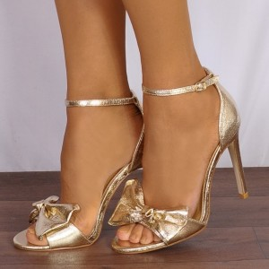 Women's  Golden Open toe Stiletto Heels Ankle Strap Sandals With Bow