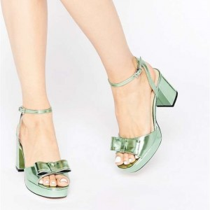Women's Green Bow Chunky Heel Sandals Open Toe Ankle Strap Sandals