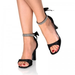 Black Rhinestone Ankle Strap Sandals Open Toe Block Heel Shoes With Bow