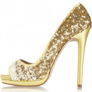 Women's Golden Peep Toe Stiletto Heels Glitter Prom Pumps