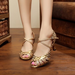 Gold Peep Toe Heels Animal Print Glitter Low Heel Sandals