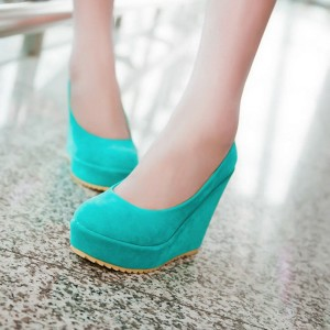 Turquoise Closed Toe Wedges Suede Platform Pumps