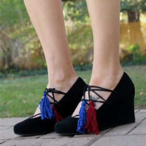 Black Closed Toe Wedges Strappy Suede Pumps with Tassels