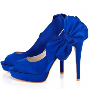 Royal Blue Wedding Shoes Peep Toe Stiletto Heels Pumps