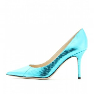 Women's Lightblue Stiletto Heels Pointy Toe Python Pumps