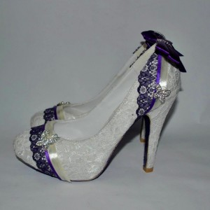 White and Purple Bridal Shoes Lace Heels Platform Pumps for Wedding