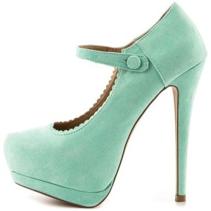 Green Mary Jane Pumps Closed Toe Suede Platform High Heels Shoes