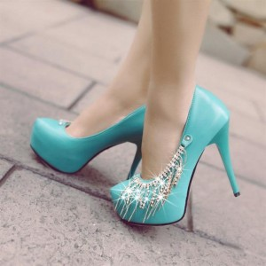 Women's Lightblue Stiletto Heels Sequined Almond Toe Platform Pumps