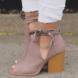 Light Plum Cut Out Boots Strappy Suede Peep Toe Wooden Heels