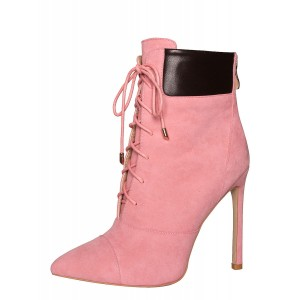 Pink Stiletto Heels Pointed Toe Lace Up Strappy Ankle Booties