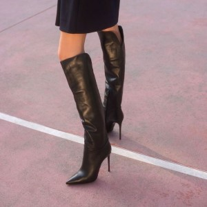 Women's Fashion Black Stiletto Boots Sexy Pointy Toe Knee-high Boots