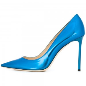 Women's Blue Dress Shoes Formal 5 Inch Stiletto Heel Pumps