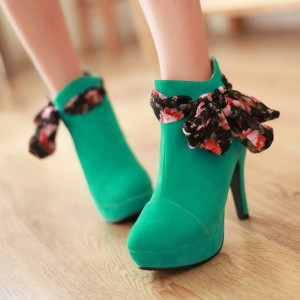 Women's Green Stiletto Heels Suede Platform Ankle Booties with Bow