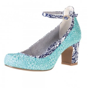 Women's Lightblue Lace Ankle Straps Heels Chunky  Heels Pumps