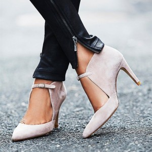 Nude Suede Vegan Shoes Pointy Toe Cut out Stiletto Heel Pumps