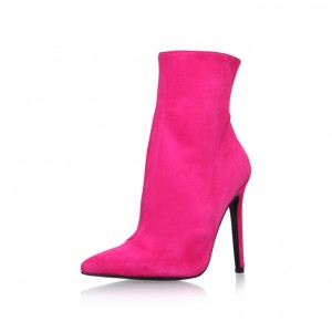 Hot Pink Sock Boots Pointy Toe Stiletto Heel Ankle Booties