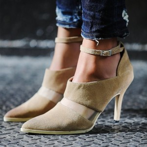 Khaki Heeled Boots Suede Ankle Strap Stiletto Heel Ankle Booties
