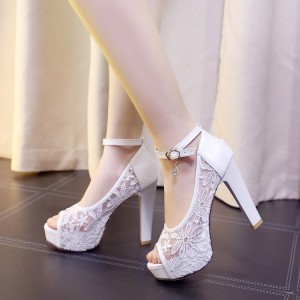 White Lace Heels Peep Toe Chunky Heel Platform Pumps for Wedding