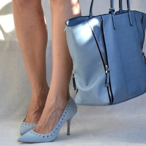 Women's Light Blue Hollow Out Stiletto Heels Pumps