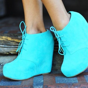 Turquoise Wedge Booties Platform Lace up Ankle Boots