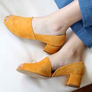 Mustard Block Heels Suede Peep Toe Vintage Shoes