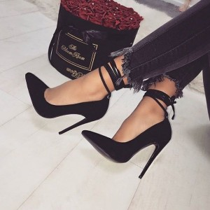 Women's Black Stiletto Heels Ankle Strap Heels Pumps