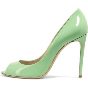 Women's Mint Green Peep Toe Heels Patent Leather Stiletto Pumps
