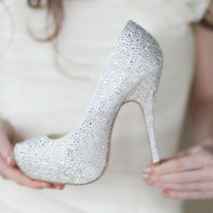Women's White Rhinestone Stiletto Heel Pumps Wedding Shoes