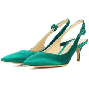 Women's Green Pointed Toe Slingback Kitten Heels Pumps