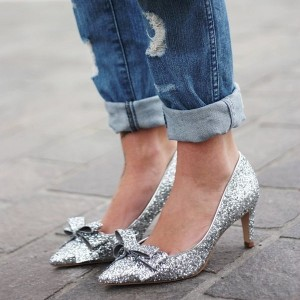 Women's Silver Glitter Bow Kitten Heels Pumps