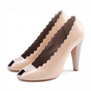 Women's Nude Peep Toe Heels Curves Cone Heels Pumps