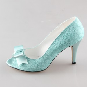 Turquoise Wedding Shoes Lace Heels Peep Toe Pumps