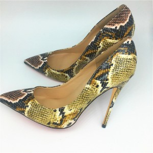 Women's Yellow Stiletto Heels Pointy Toe Python Pumps