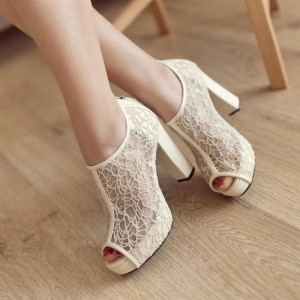 Ivory Wedding Shoes Lace Peep Toe Block Heel Ankle Boots