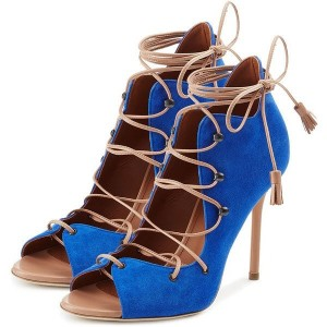 Blue Lace up Boots Strappy Open Toe Suede Ankle Booties for Women