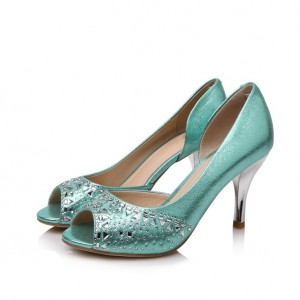 Women's Wedding shoes Cyan Peep Toe Rhinestone Stiletto Heel Pumps