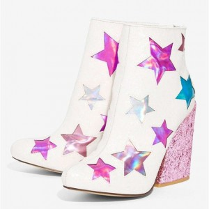 Women's White Star Floral Glitter Chunky Heel Boots