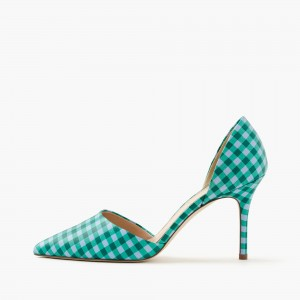 Women's Green Pointy Toe D'orsay Plaid Stiletto Heels Pumps