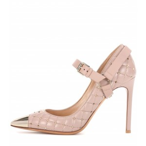 Blush Mary Jane Heels Studs Shoes Quilted Lining Stiletto Heel Pumps