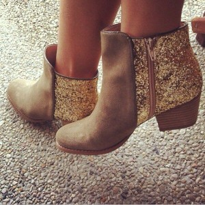 Women's Brown Fashion Boots Glitter Shoes Block Heel Ankle Boots