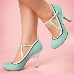 Women's Cyan Mary Jane Pumps Polka Dot Lace Comfortable Shoes
