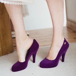 Purple Velvet Heels Vintage Chunky Heel Pumps for Women