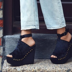 Women's Black T-strap Slingback Buckle Rivets Shoes Peep Toe Wedge Sandals