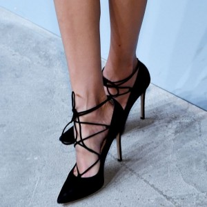 Women's Black Lace Up Heels Suede Pointy Toe Stilettos Pumps