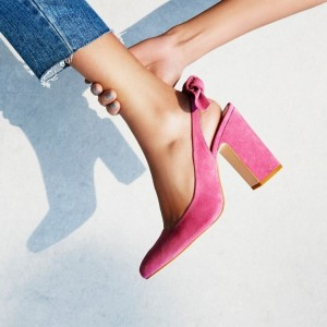 Women's Pink Commuting Suede Pointed Toe Chunky Heels Slingback Shoes