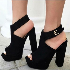 Women's Comfortable Black Peep Toe Slingback Chunky Heel Sandals