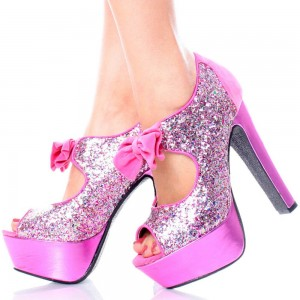 Women's Glitter Pink Peep Toe Shoes Platform Heels Cutout Pumps With Bow